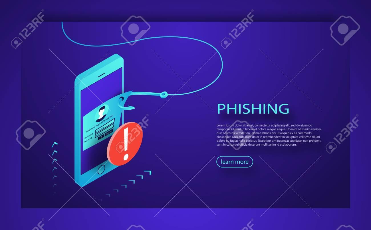 Internet phishing, hacked login and password  Phishing scam,