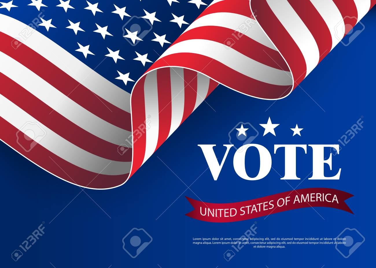 Elections to US Senate in 2018. Template for US elections. Presidential election banner background. Presidential vote banner background. USA voting concept vector illustration. - 109882705