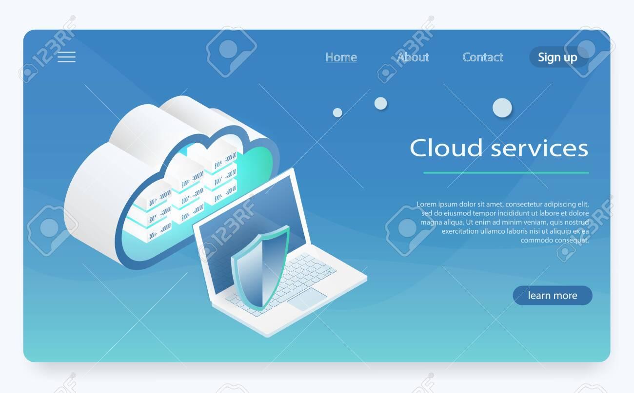Concept of cloud storage, data transfer  Server room, big data
