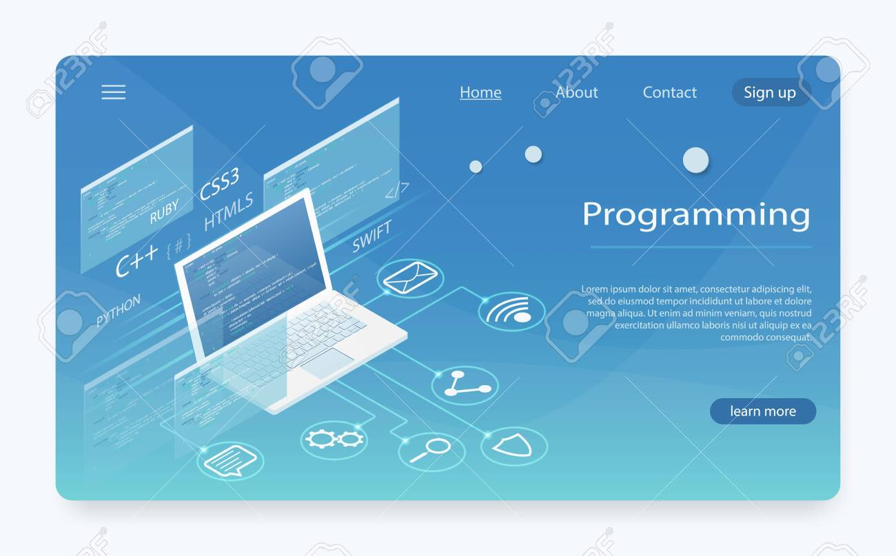Software Development And Programming Program Code On Pc Monitor Royalty Free Cliparts Vectors And Stock Illustration Image 127792221