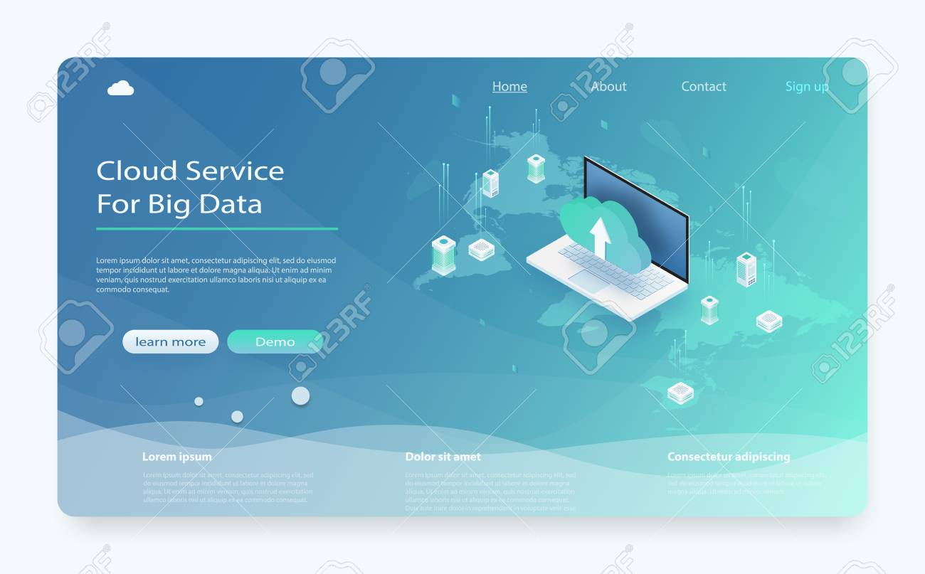 Isometric modern cloud technology and networking concept  Cloud