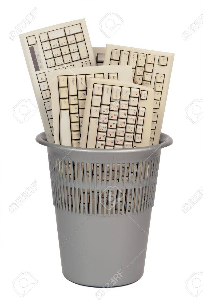 computer trash keyboard isolated on white background Stock Photo - 10766660