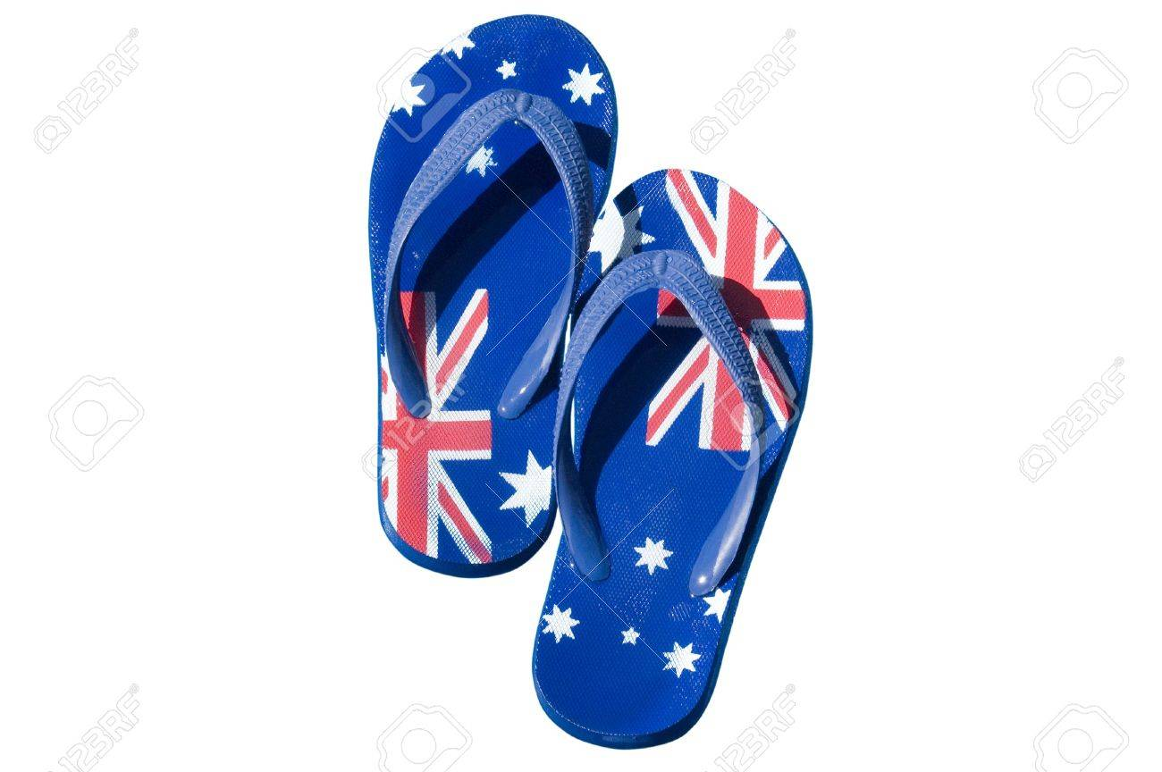 856b8f24612b A pair of thongs decorated with the Australian flag and isolated on white.  Stock Photo