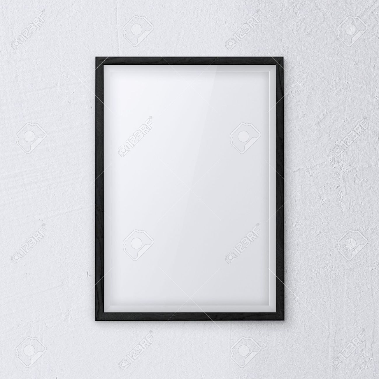 stock photo framework picture with black frame on white wall