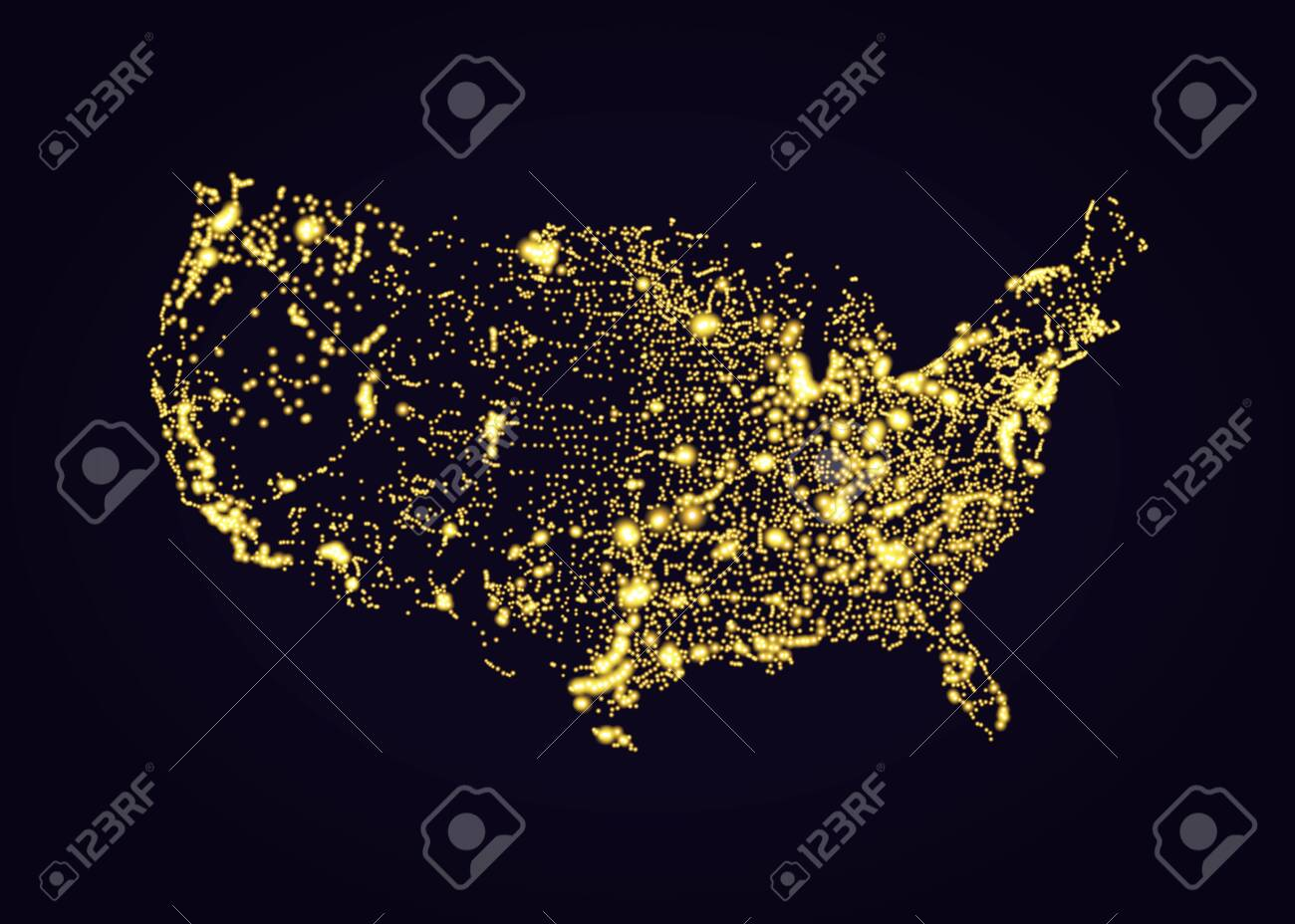 Us Night Light Map Usa Map Night Light Effect In Vector Format Royalty Free Cliparts
