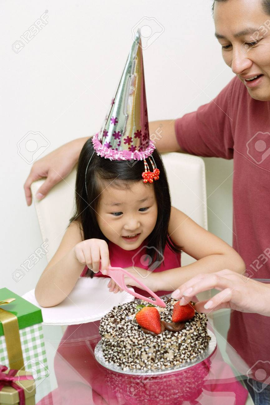 Excellent Father And Daughter In Front Of Birthday Cake Daughter Holding Personalised Birthday Cards Bromeletsinfo