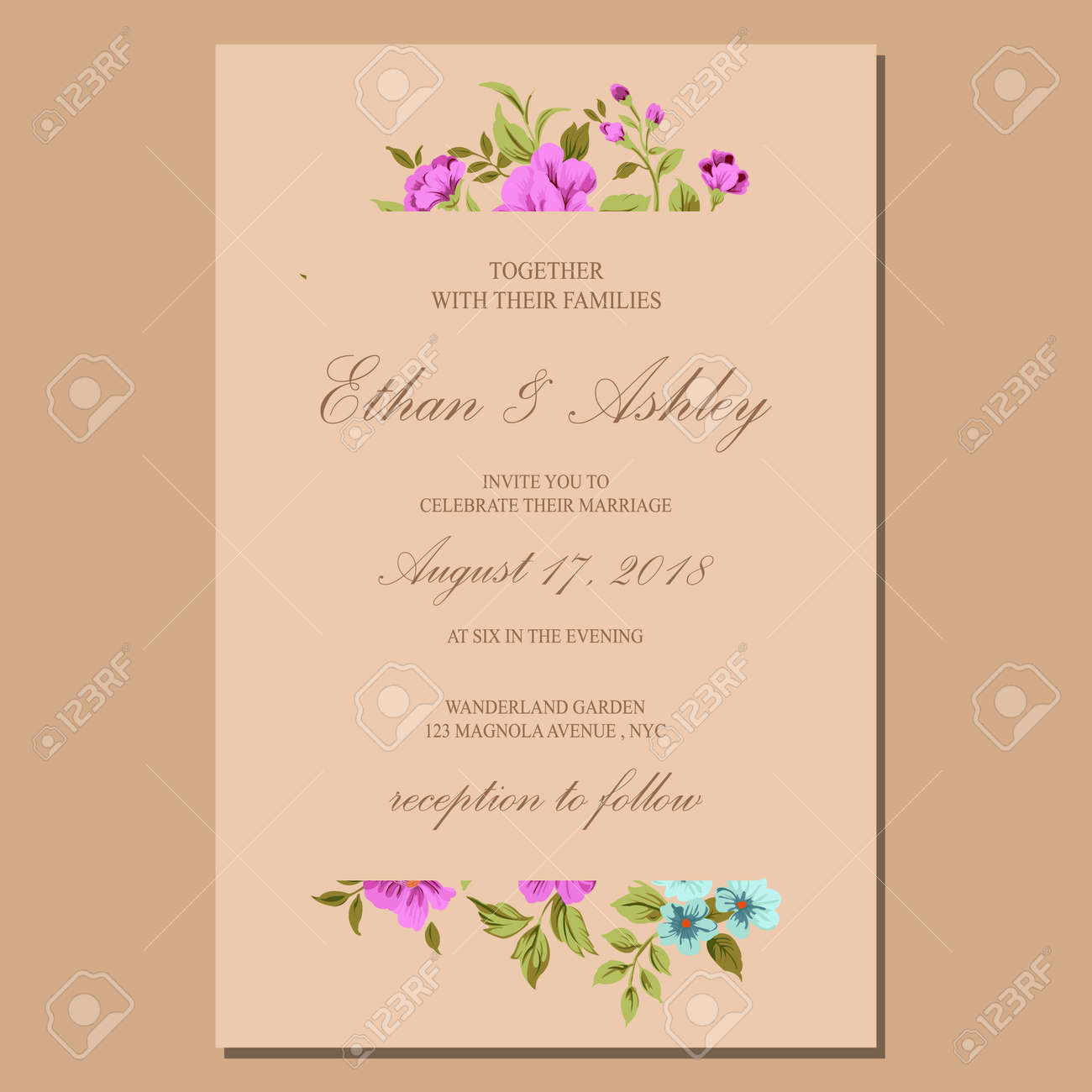 wedding invitation with floral pattern frame - 156373070