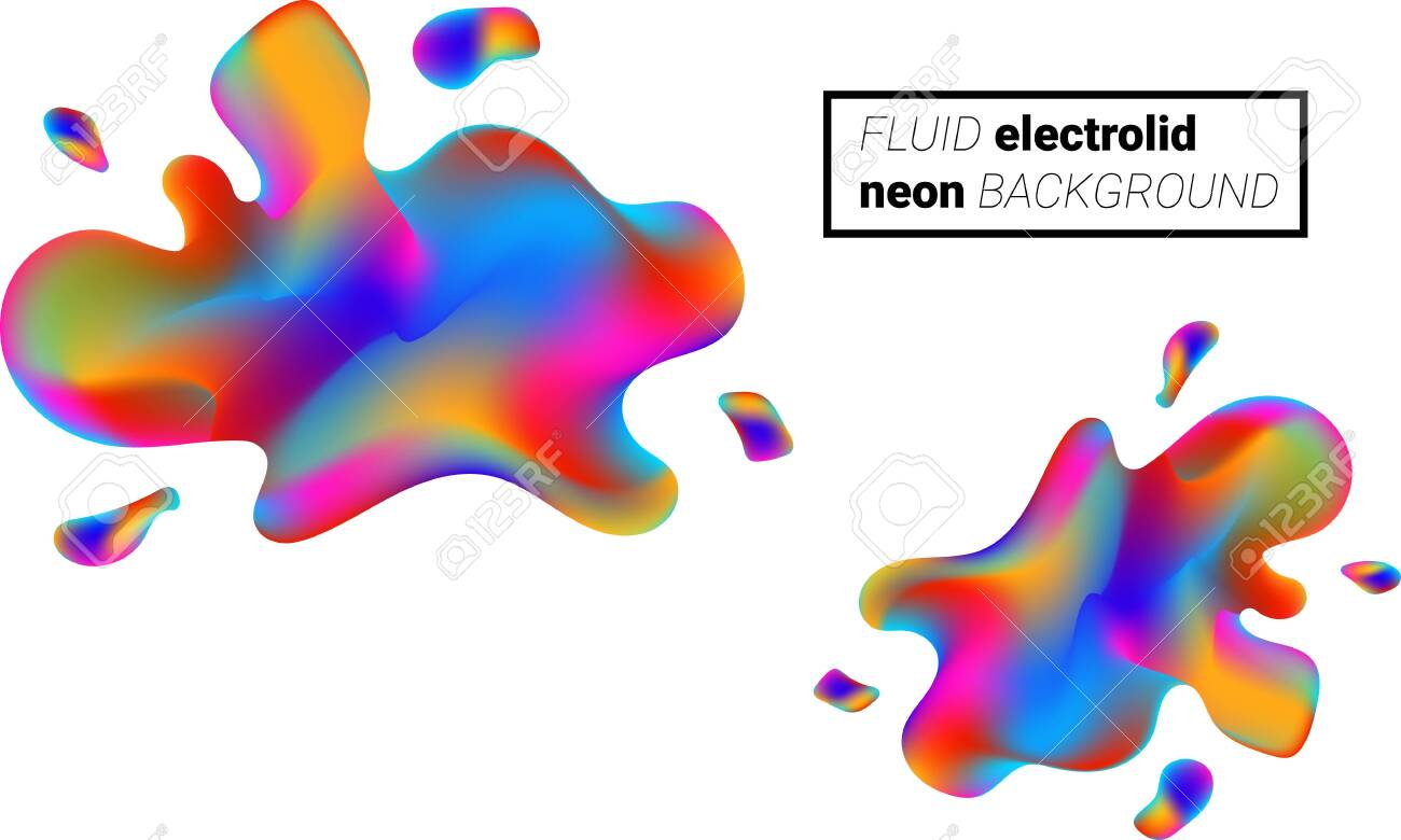 Colorful liquid splashes background. Fluid paint template. Abstract neon background. - 156382088