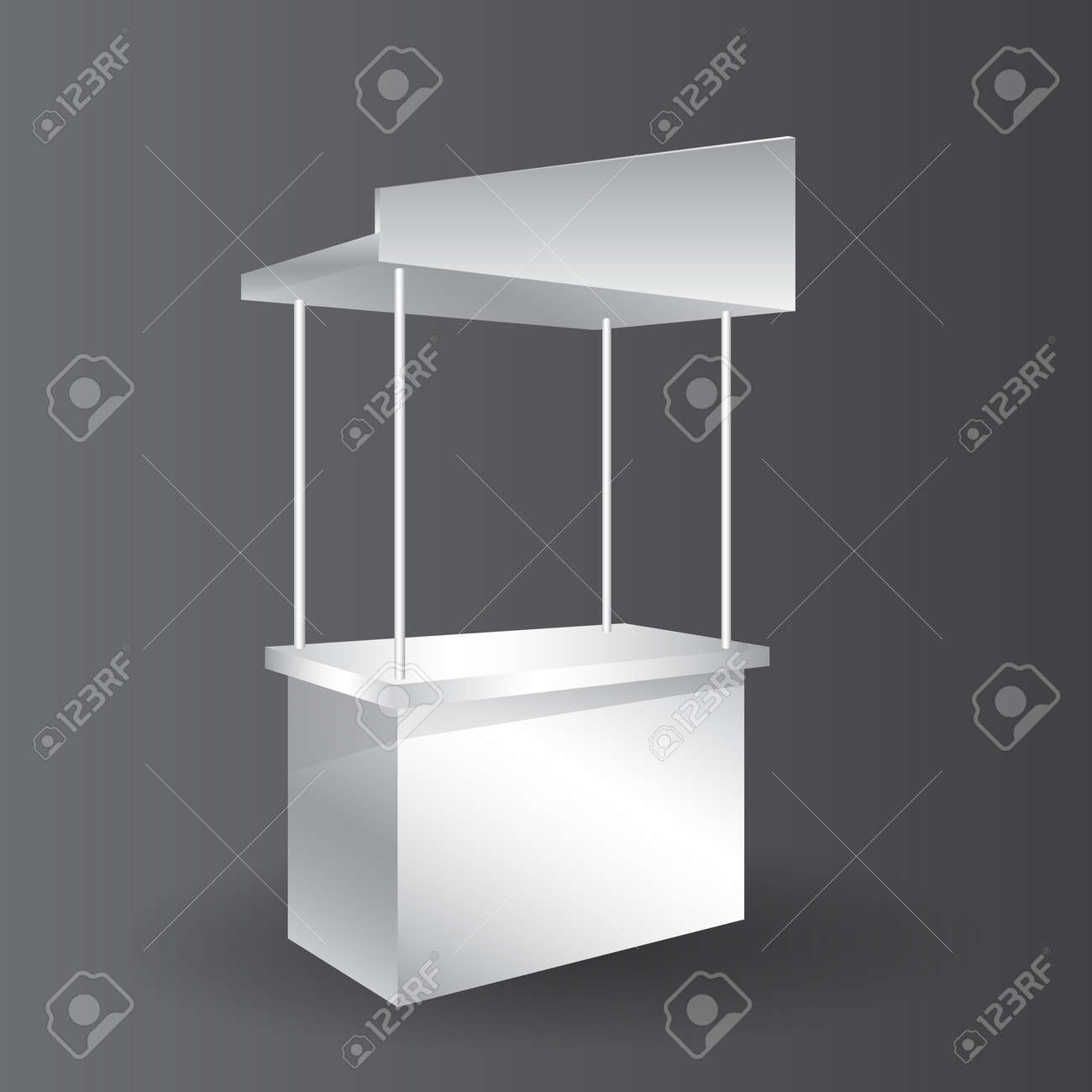counter promotion exhibition stand mockup for event, Advertising POS POI Display Rack Shelves For Supermarket Floor Showcase. - 156425122