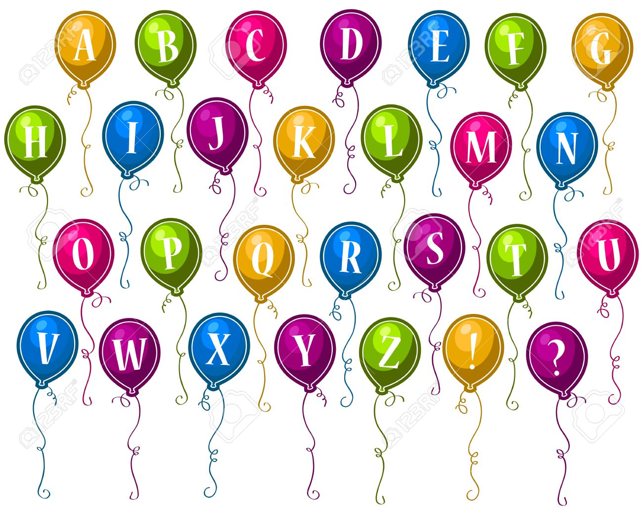 Alphabet Happy Birthday Balloons Stock Vector - 10857001