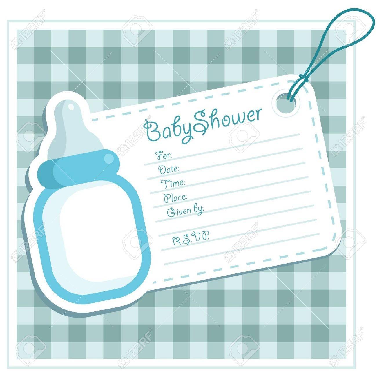 Baby Boy Shower Bottle Invitation Card Stock Vector - 11273358
