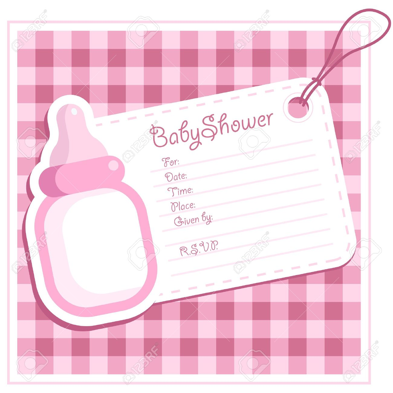 Baby Girl Shower Bottle Invitation Card Royalty Free Cliparts ...
