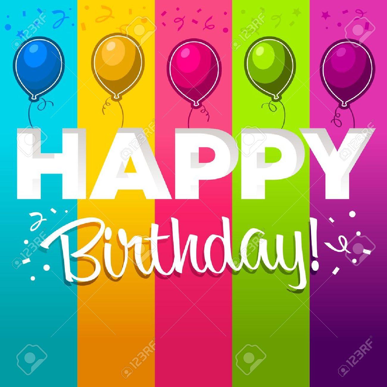 Feliz Cumpleaños Con Globos De Colores Ilustraciones Vectoriales ...