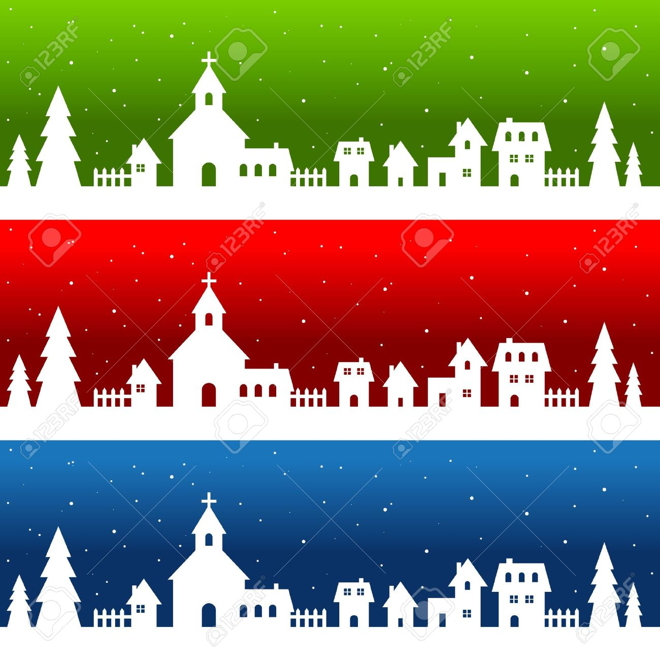 White Silhouette Christmas Village Stock Vector - 11814233