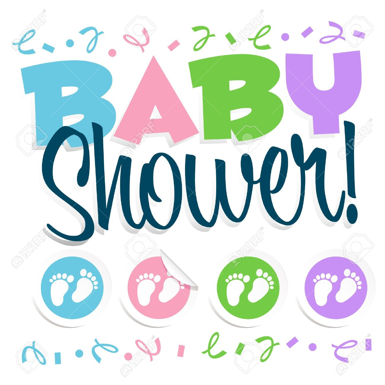 Baby Shower Invitation Greeting Card Royalty Free Cliparts Vectors