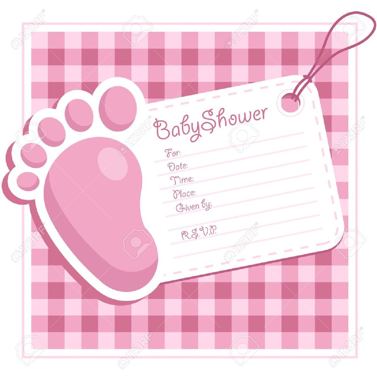 Pink Baby Shower Invitation Royalty Free Cliparts, Vectors, And ...