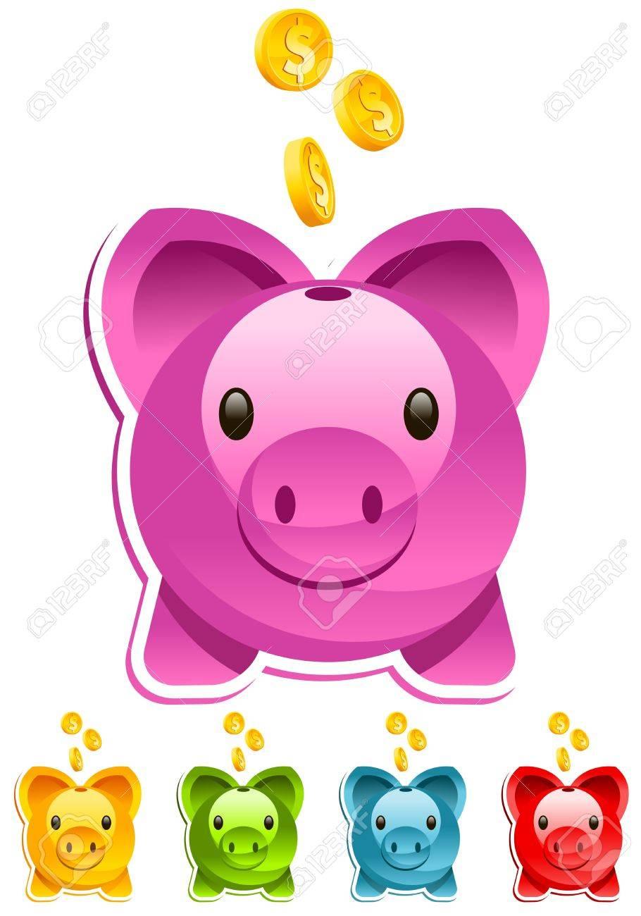 Vector piggy bank with gold dollar coins - 13324481