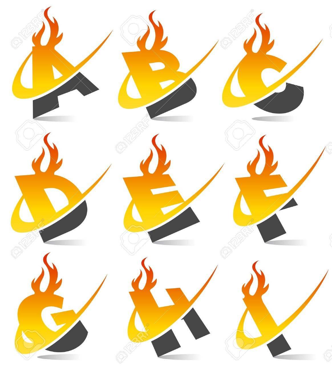 Swoosh Flame Alphabet Set 1 Stock Vector - 13767600