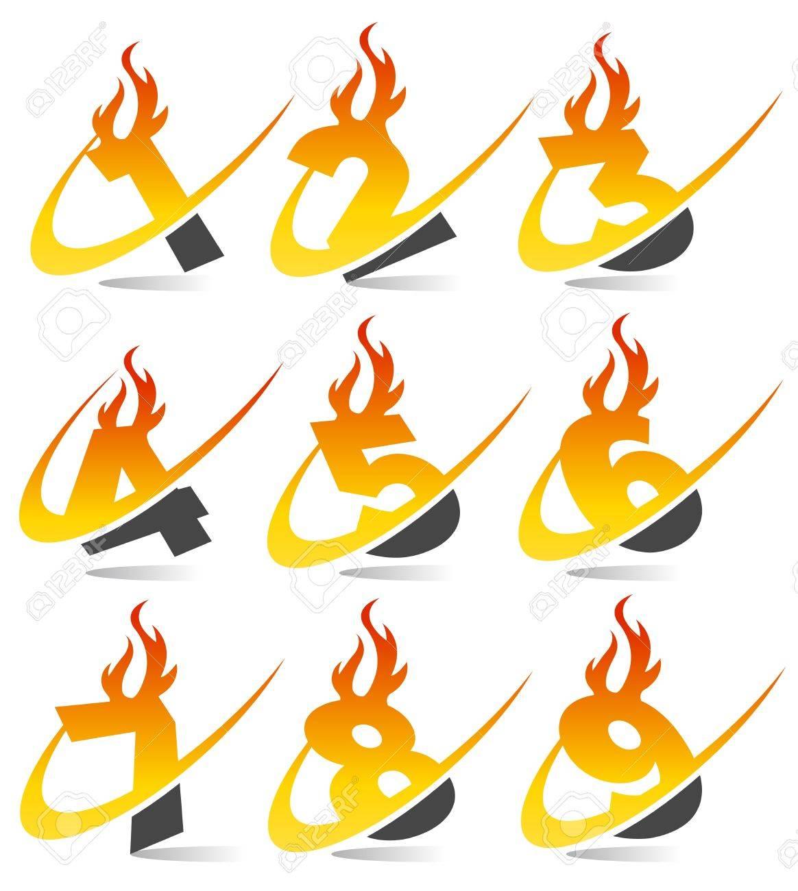 Swoosh Flame Numbers Stock Vector - 13767615