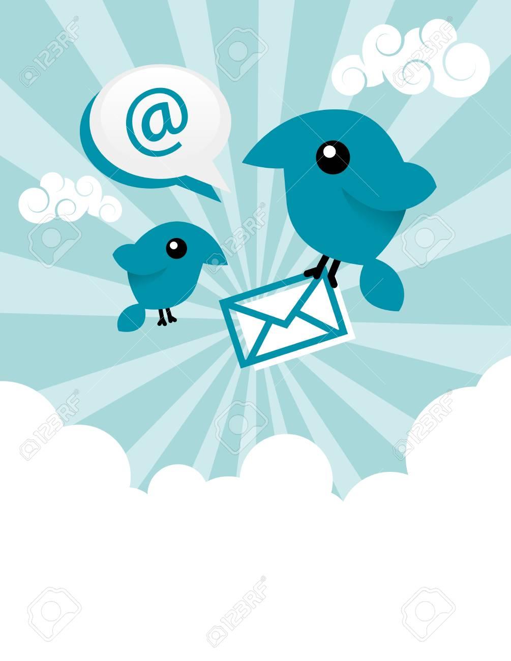Vector illustration of blue birds sharing emails. Stock Vector - 14293950