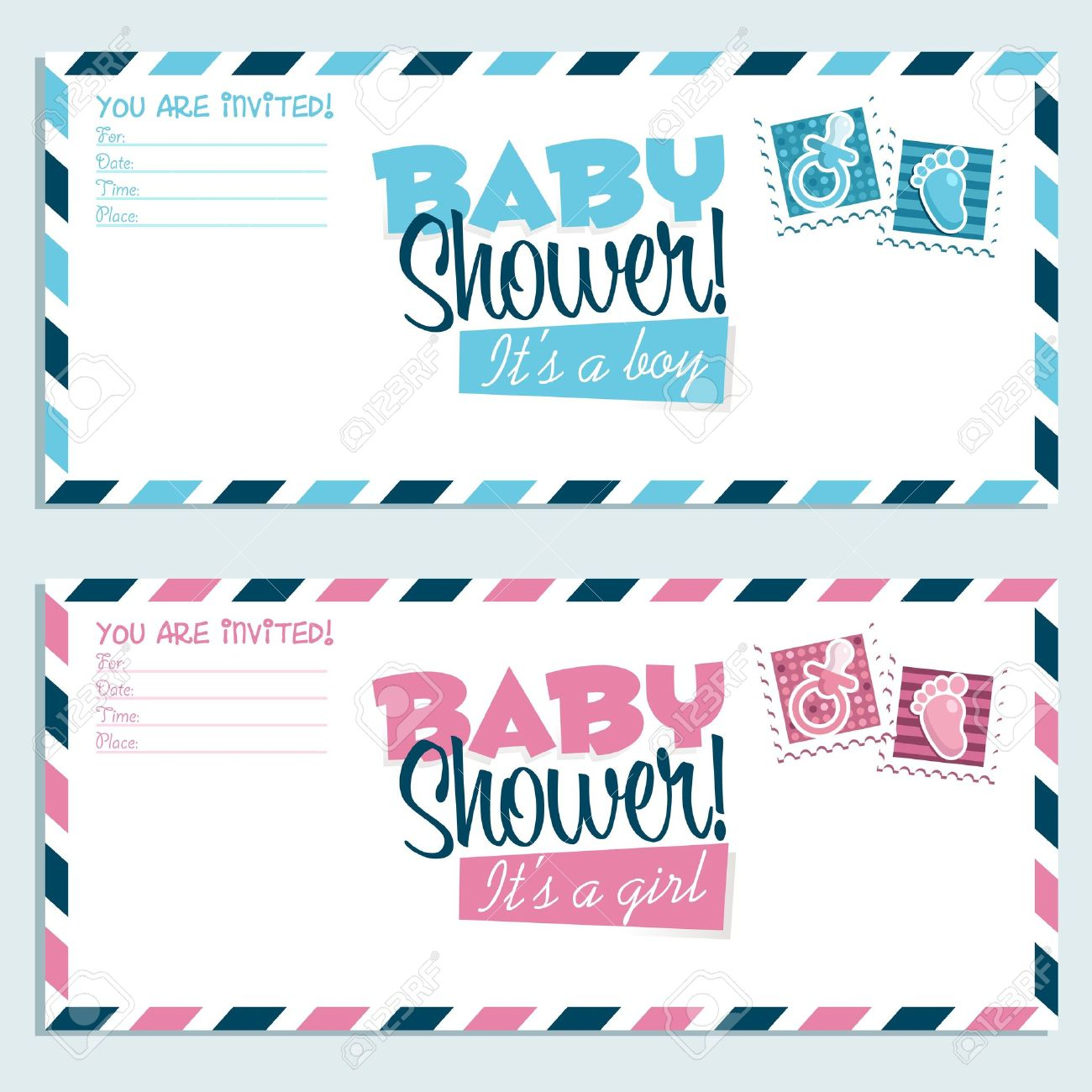 Baby Shower Invitation Envelopes Royalty Free Cliparts, Vectors, And ...