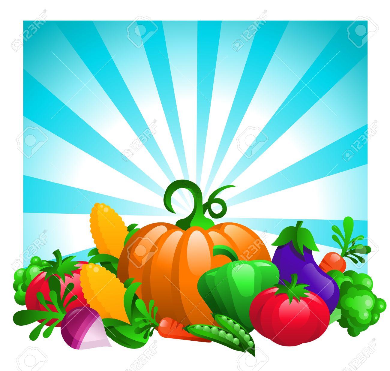 Glossy Vegetables on Bursting Background Stock Vector - 16338214