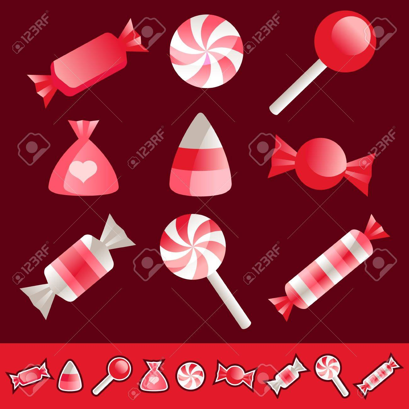 Vector set of pink and red Valentine candies Stock Vector - 17109728
