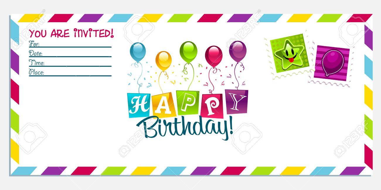 Vector Colorful Birthday Invitation Greeting Card Royalty Free ...