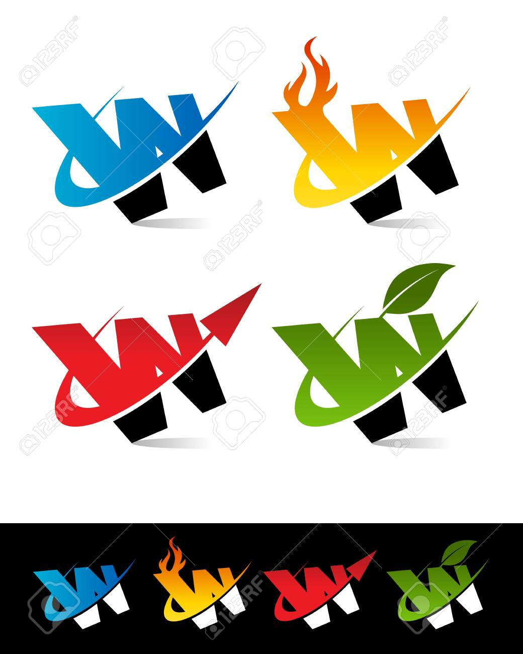 Vector set of colorful swoosh W icons Stock Vector - 17109642