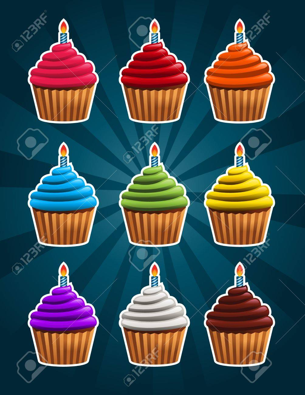 Birthday Cupcakes Stock Vector - 18392878