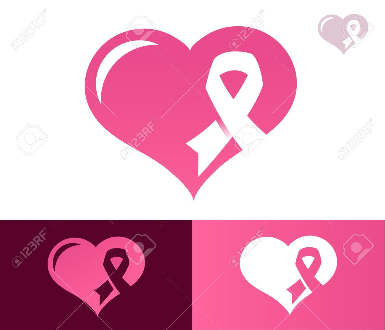 a819f0384e6 Heart with pink ribbon icon for breast cancer awareness