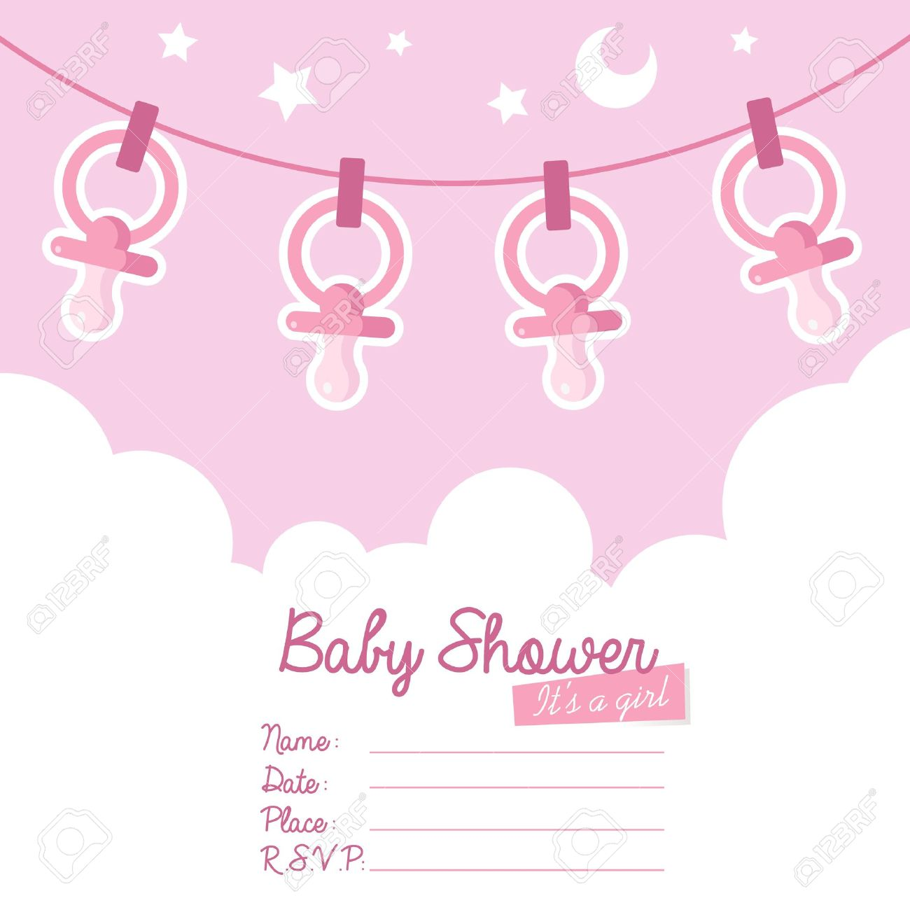 Cute Pink Baby Shower Invitation Card For Girls With Pacifiers ...