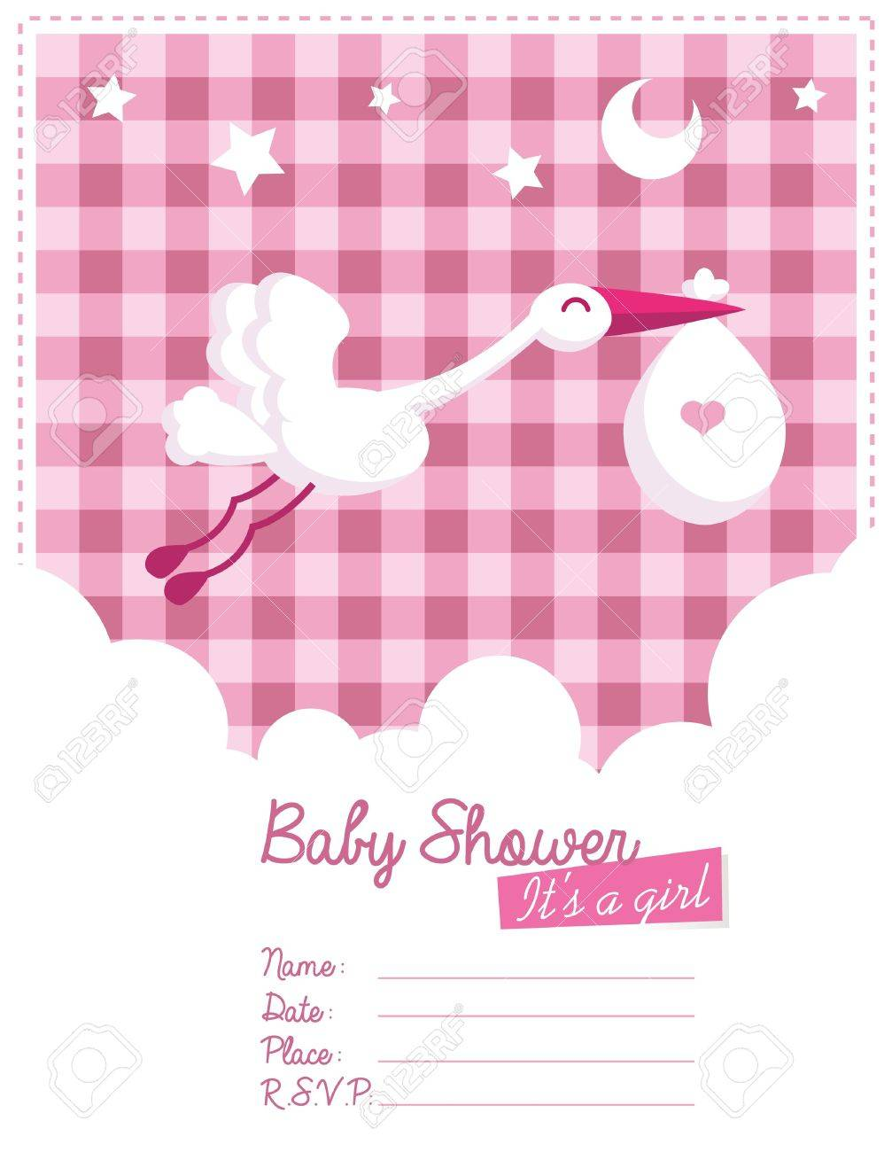 Baby Girl Invitation Card With Stork Royalty Free Cliparts – Stork Party Invites