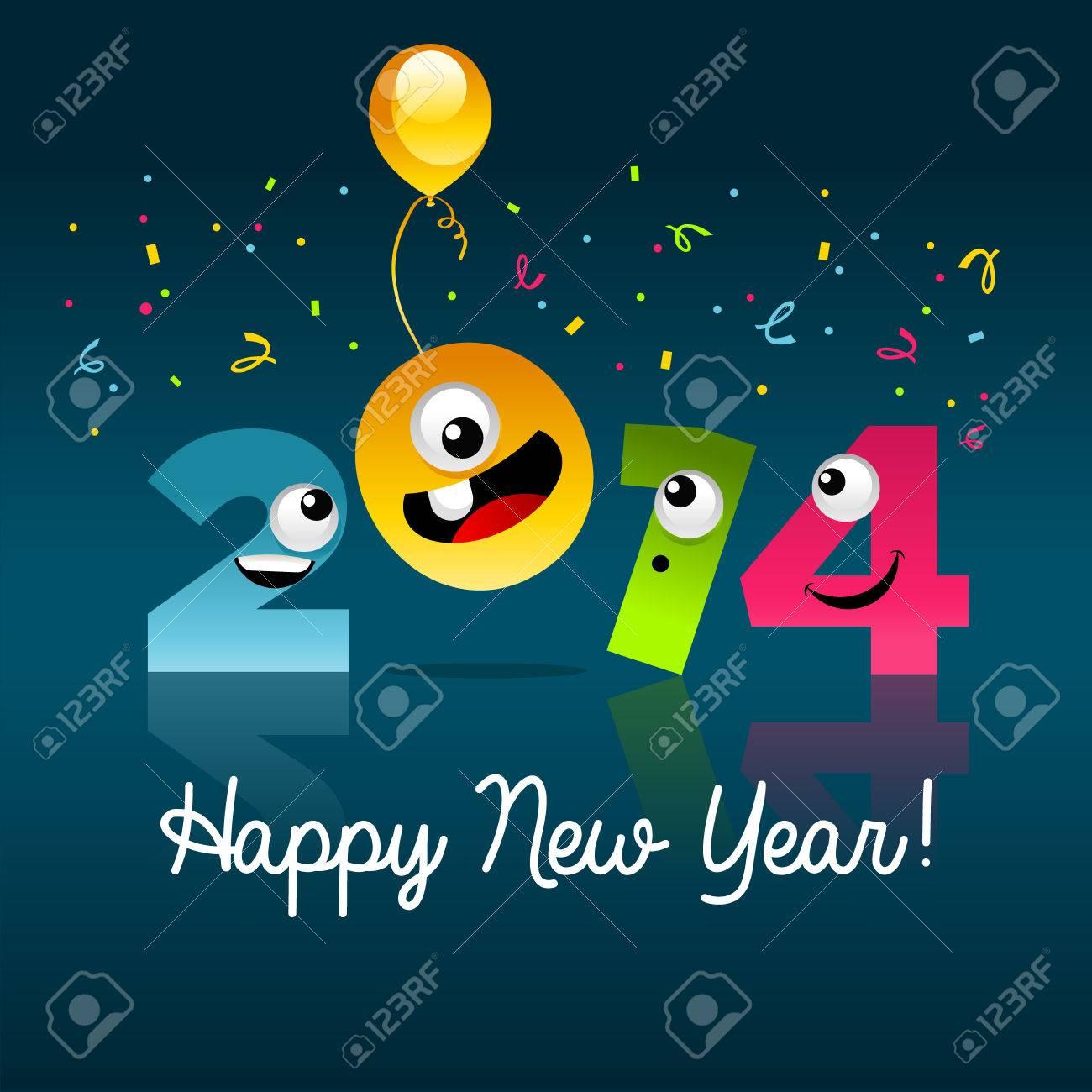 Colorful new year 2014 cartoon illustration Stock Vector - 22705081