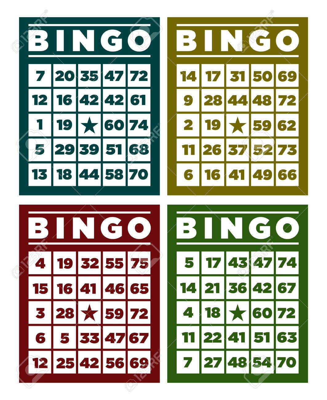 Étonnant Set Of Retro Bingo Cards Royalty Free Cliparts, Vectors, And Stock FH-35