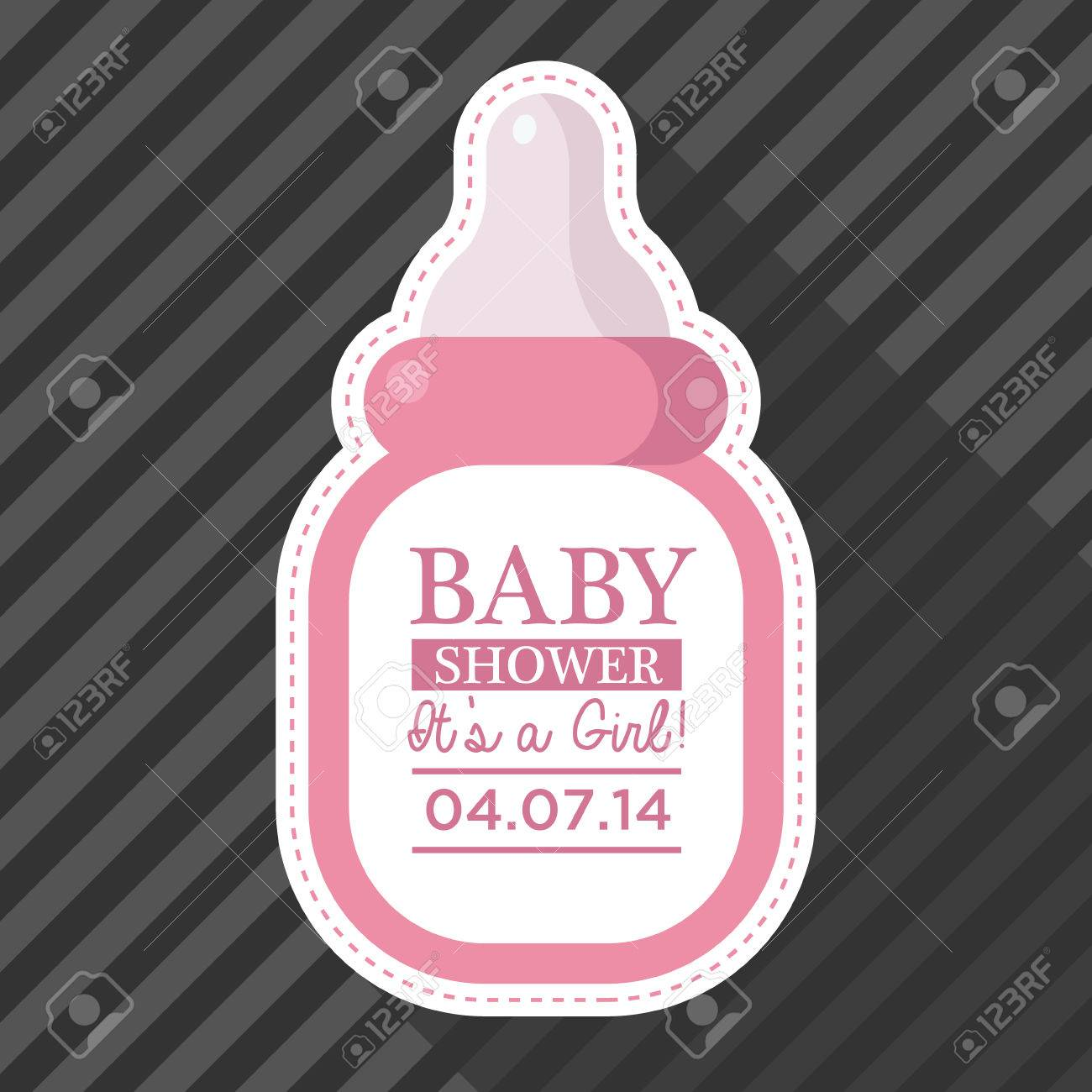 Baby shower invitation with baby bottle royalty free cliparts baby shower invitation with baby bottle stock vector 28515632 filmwisefo