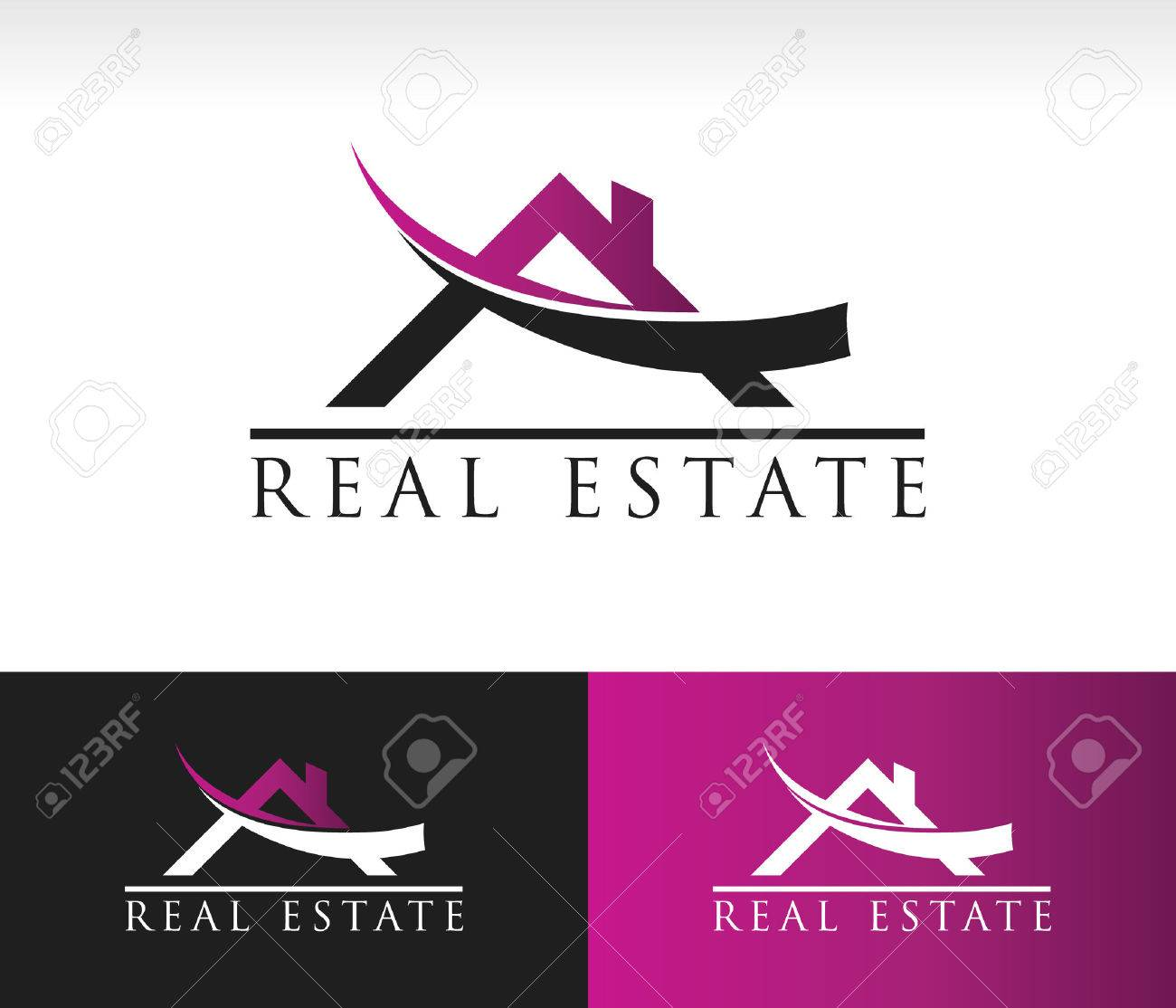 real estate logo icon with roof and swoosh graphic element stock vector 43417409