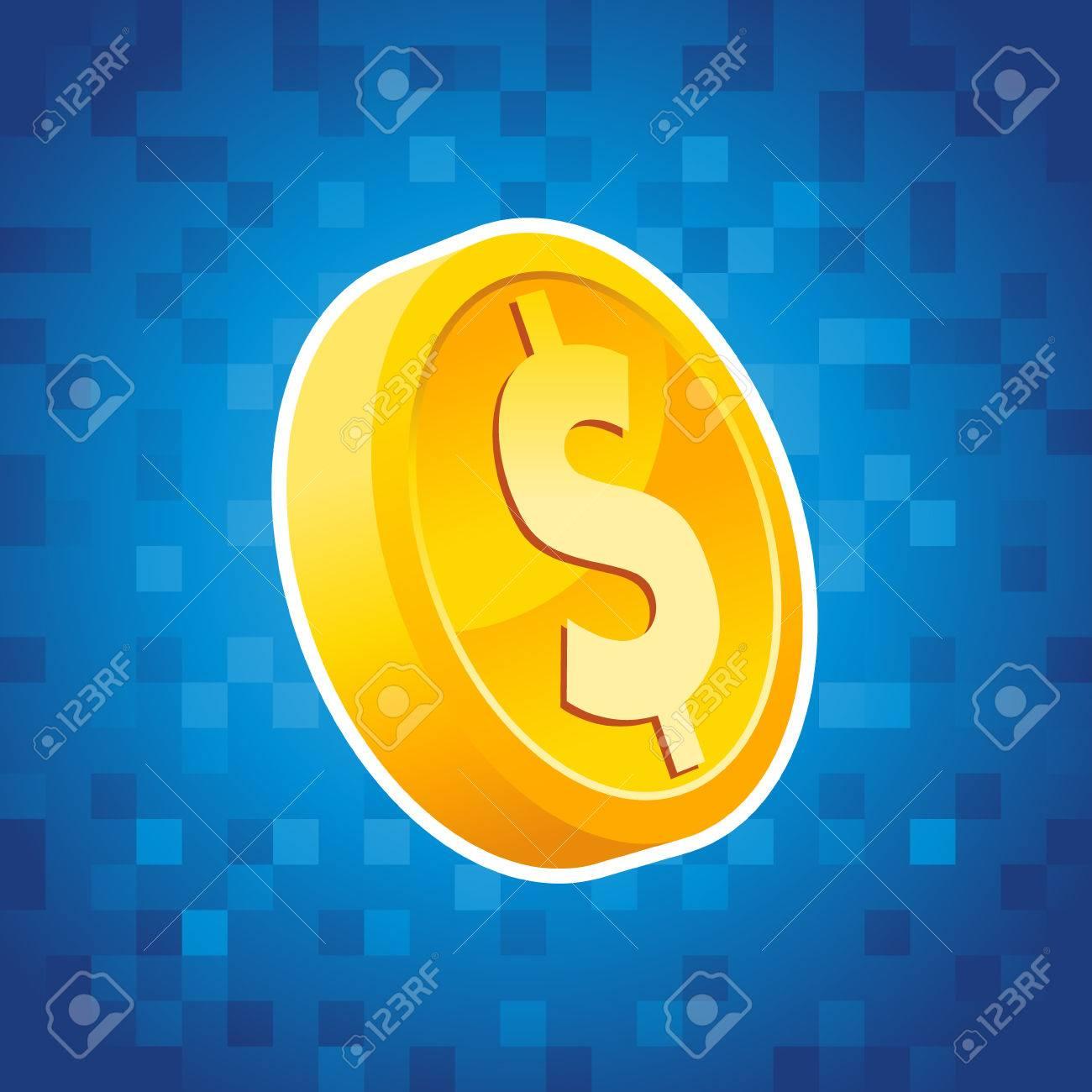 Gold Dollar Münze Auf Blauem Hintergrund Pixel Lizenzfrei Nutzbare