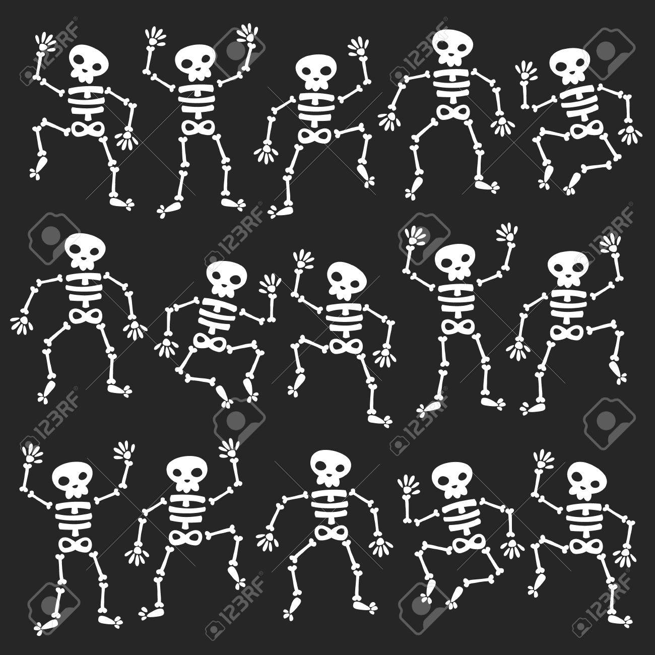 Set of dancing skeletons isolated on black - 44871277