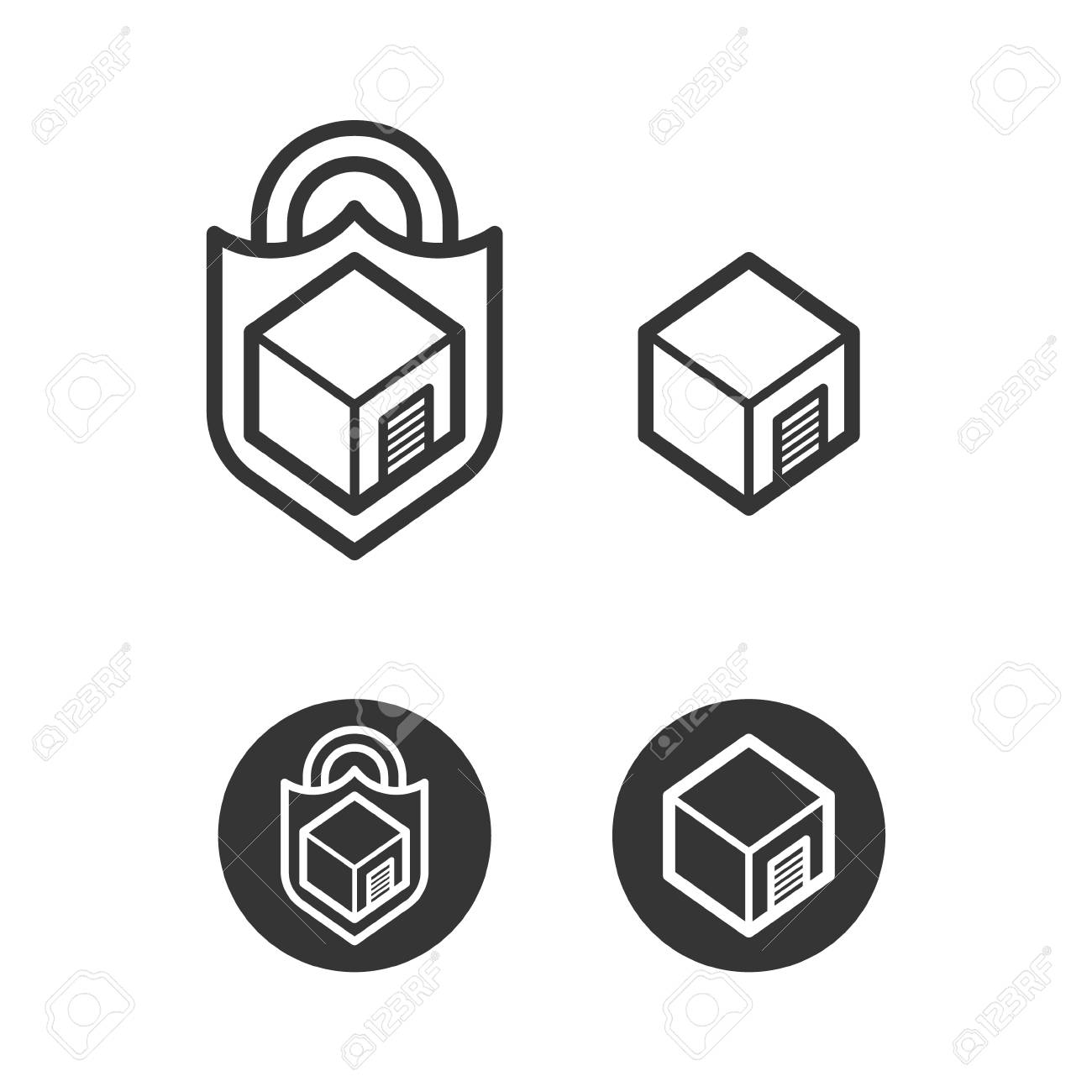 Self Storage Cube Logo Icons Royalty Free Cliparts, Vectors