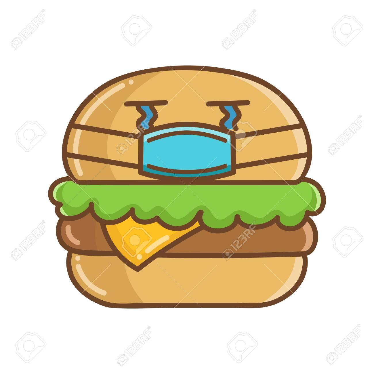 Kawaii Hamburger Wearing Protective Face Mask Cartoon Isolated On White Background Clip Art Libres De Droits Vecteurs Et Illustration Image 153399831