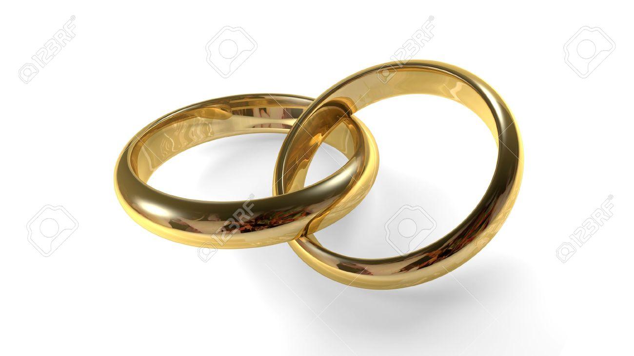 Interlocking Wedding Rings.Two Golden Wedding Rings Interlocked