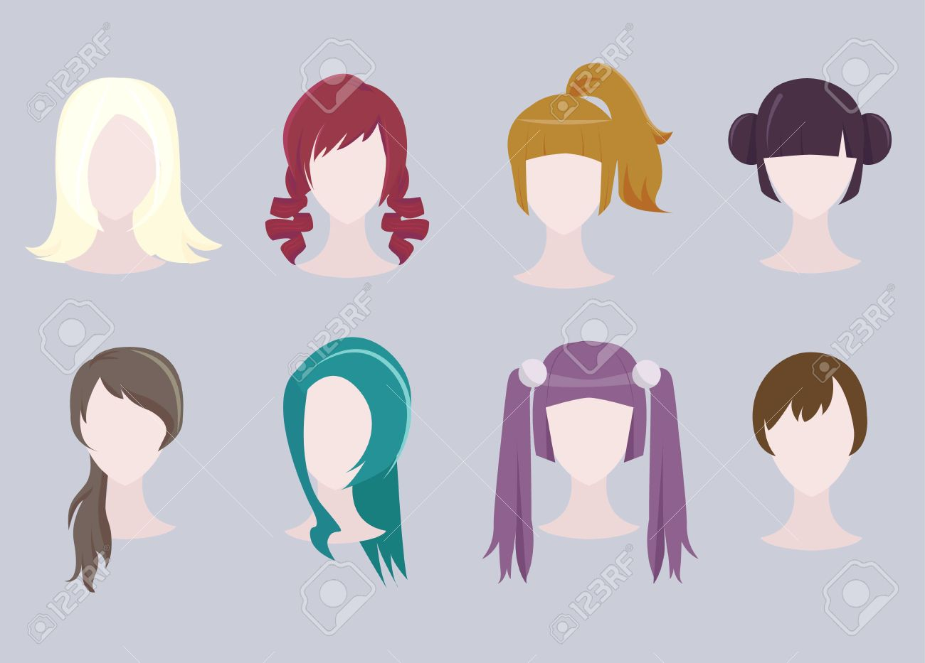 set of different cartoon hairstyles royalty free cliparts, vectors