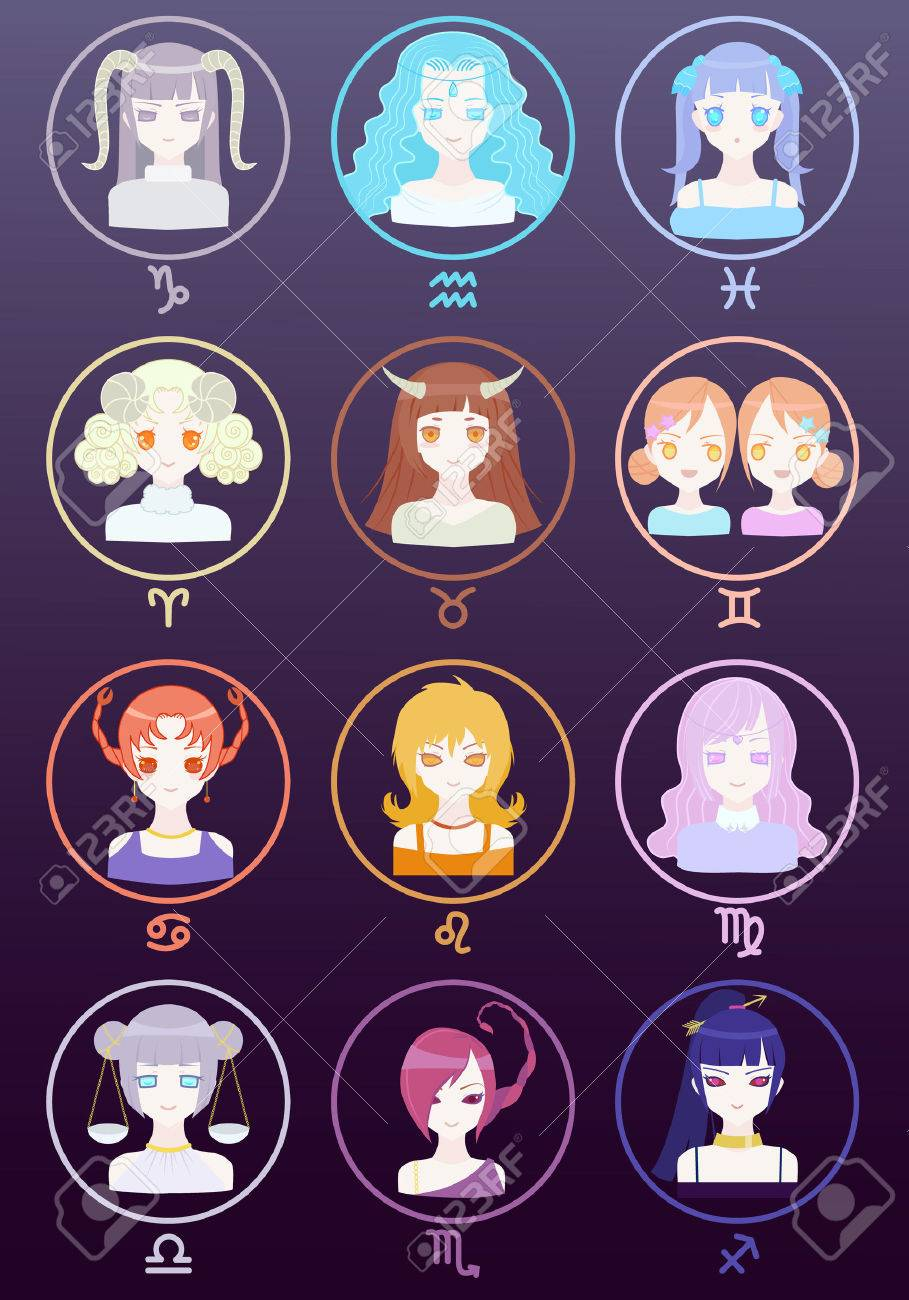 Cute Girl Zodiac Horoscope Signs Set Royalty Free Cliparts Vectors
