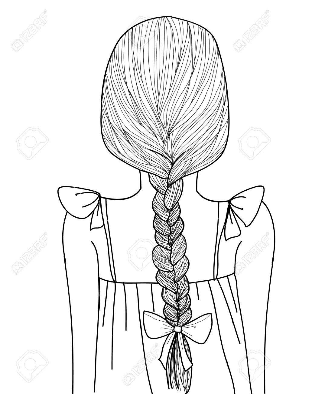 Sketch Style Black Line Cute Girl Braid Hairstyle Royalty Free