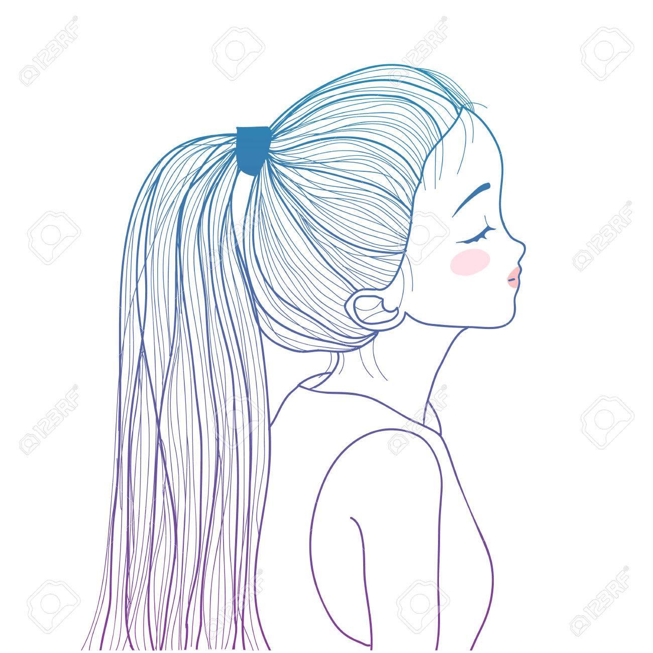 グラデーションのポニーテールかわいい女の子イラスト