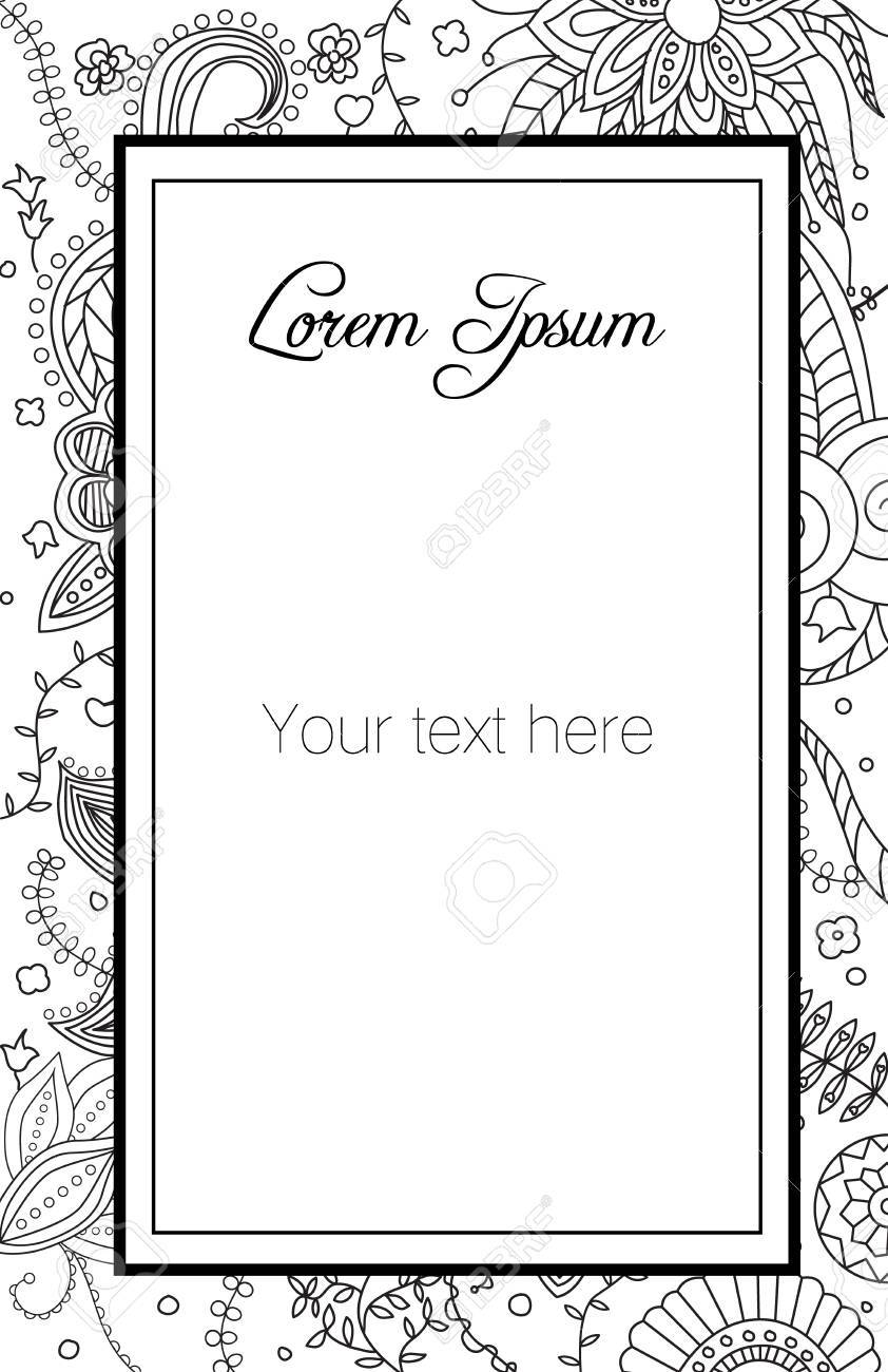 Template With Hand Drawn Floral Doodle Background Royalty Free ...