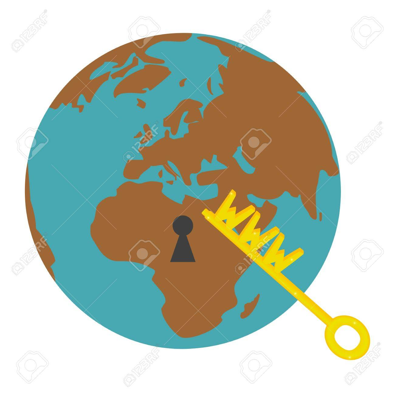 Terrestrial globe with lock and key with symbol www Stock Vector - 13820657