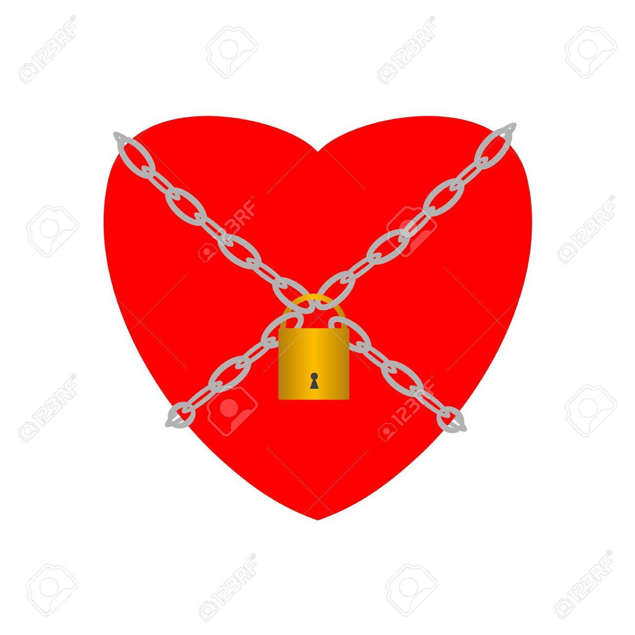 Heart closed with chains and padlock Stock Vector - 13820632