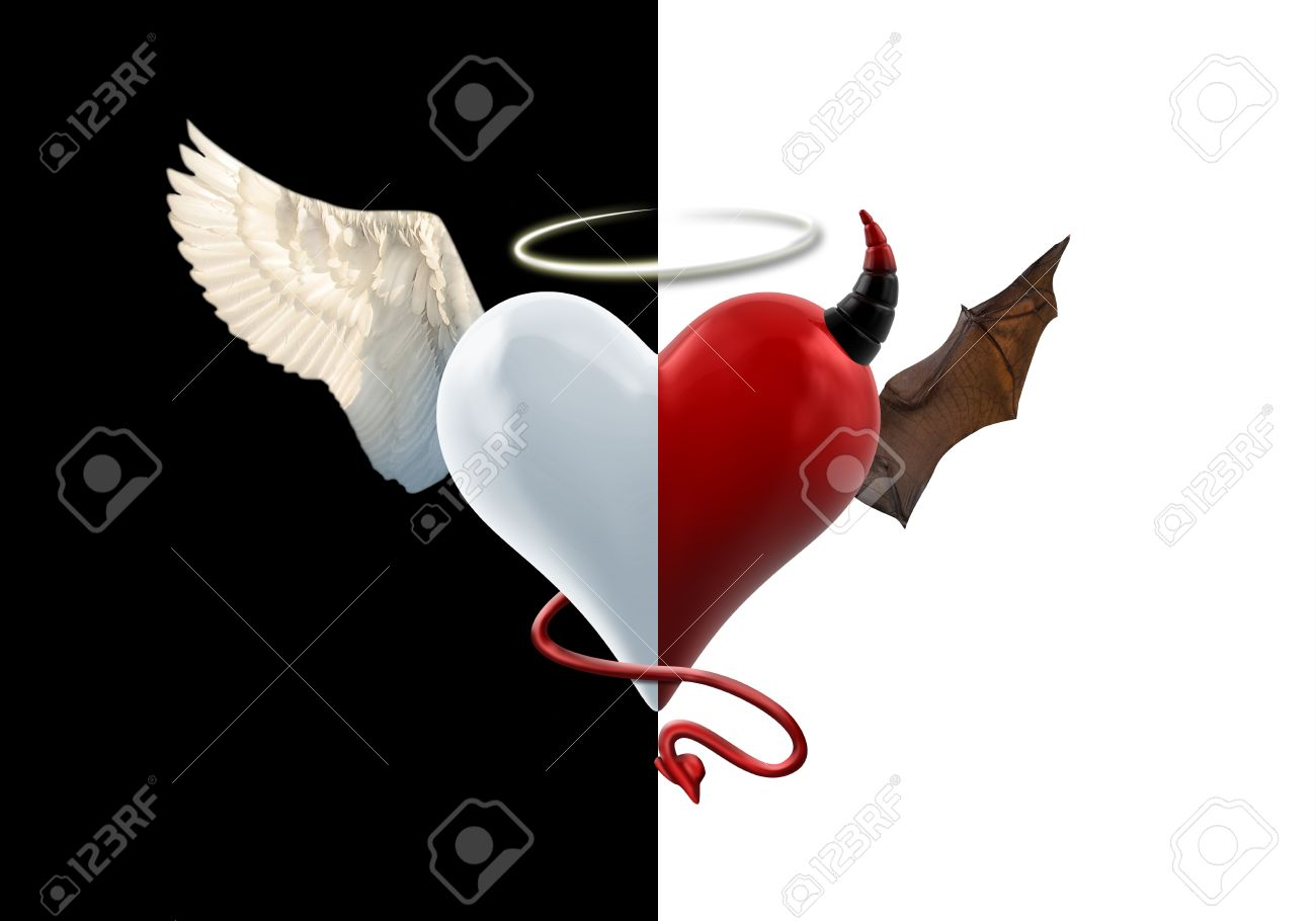 angel devil heart isolated image stock photo picture and royalty